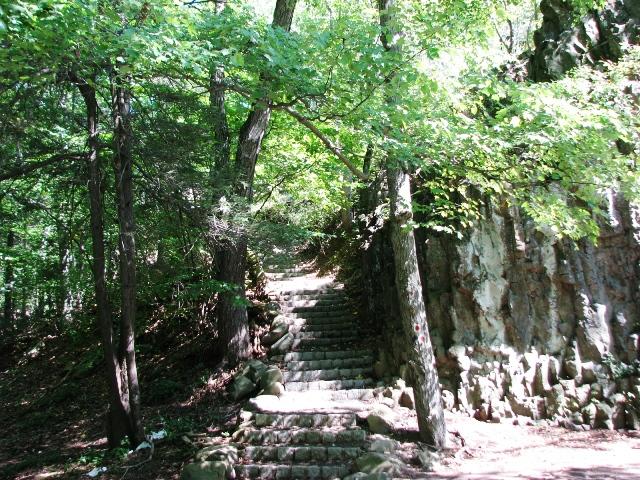 Bậc thang dẫn lên trên đỉnh đồi của thác