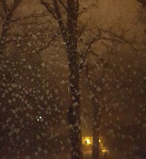 tuyết rơi đèn nhà láng giềng tỏa sáng