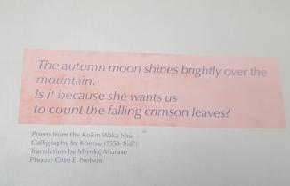 Trăng thu chiếu sáng trên đầu núi, phải chăng nàng Nguyệt muốn ta đếm xem có bao nhiêu chiếc lá đỏ của mùa thu đã rơi. Bài thơ thấy dán trên tường của nhà triển lãm bonsai.