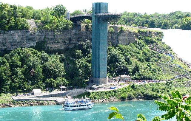 ở bờ Canada nhìn người bên bờ Mỹ đi ngắm thác