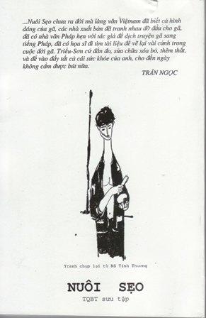 Bìa sau chủ đề nhà văn Triều Sơn