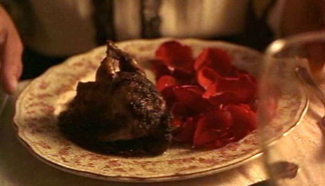 Quails in rose-petal sauce