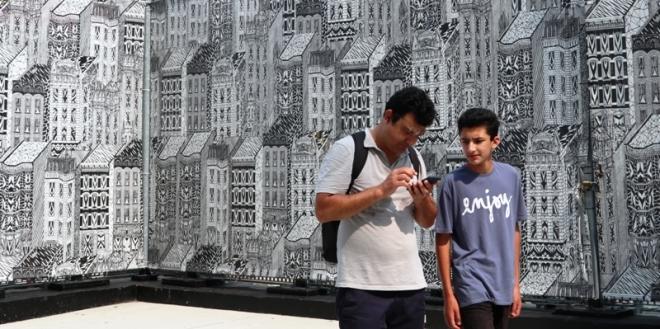 một trong những bức tường trang trí ở khuôn viên ground zero